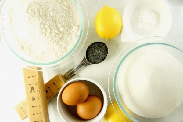 The ingredients for chewy lemon poppyseed cookies
