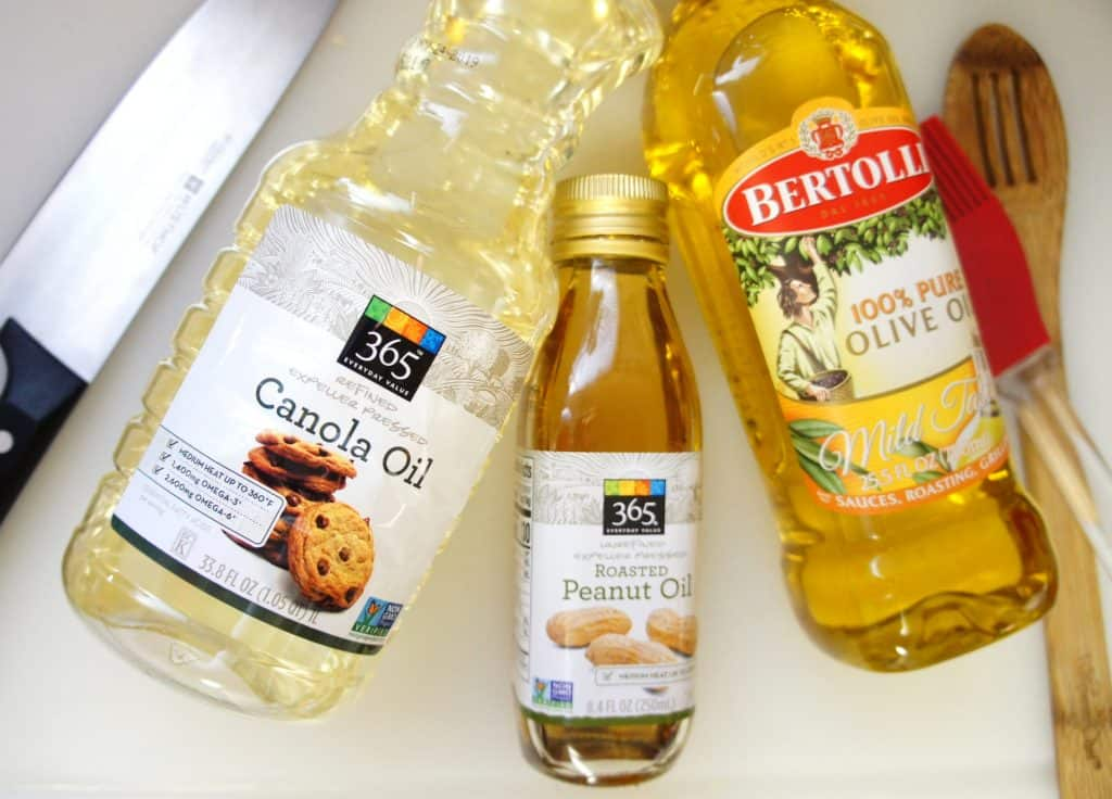 Oils for cooking, my go to pantry oils include peanut oil for high heat, canola oil for high heat, and olive oil for low to medium heat cooking.