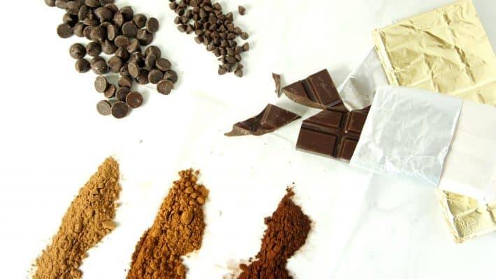 A variety of chocolate products including cocoa powder, chocolate chips, and chocolate bars