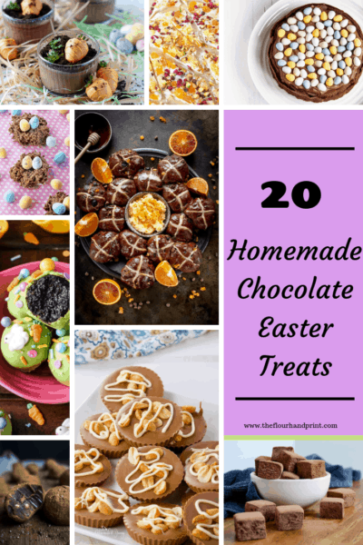 A long image collage of homemade easter chocolate treats