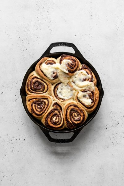chocolate rolls with cream cheese frosting