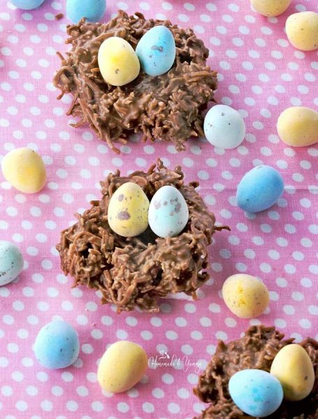Chocolate covered coconut nests with chocolate eggs