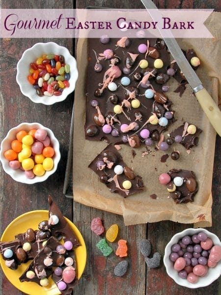 chocolate bark with colorful chocolate eggs on top