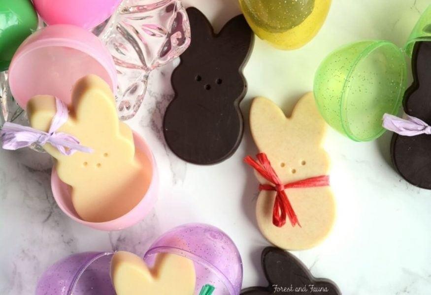 homemade chocolate easter bunnies white and dark