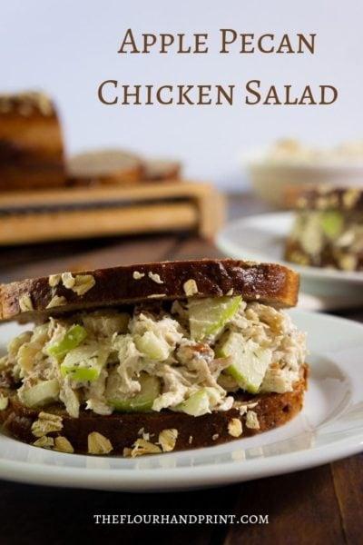 Close up of apple pecan chicken salad sanwich