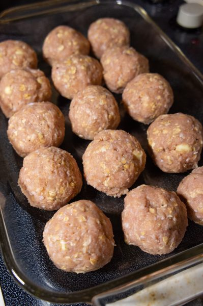 A casserole dish of meatballs