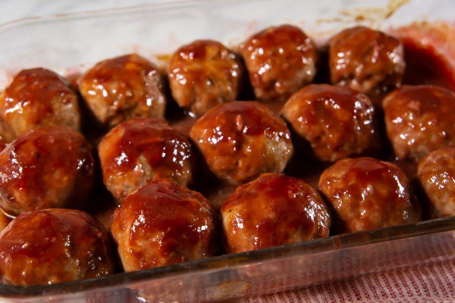 Finished tray of glazed meatballs