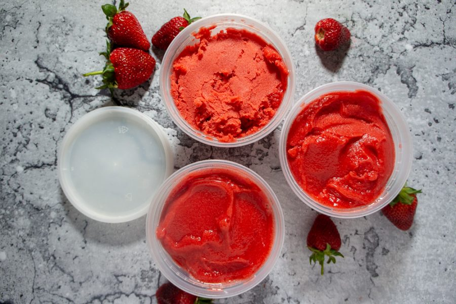 3 bowls of strawberry sorbet